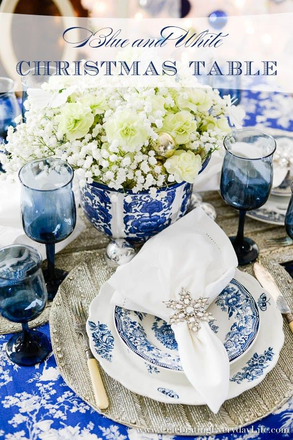Blue  White Christmas Table table settings Pinterest Blue