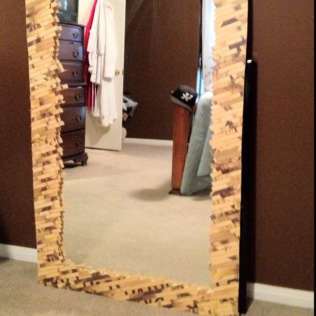 Took An Old Shower Door Mirror And A Broken Bamboo Rug To