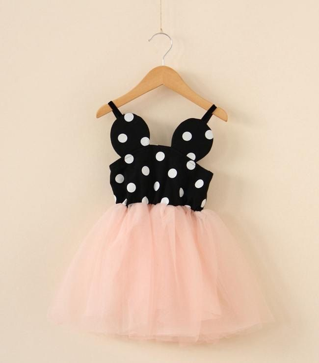 Minnie dot dress - pink tulle - yellow tulle - princess dress ...