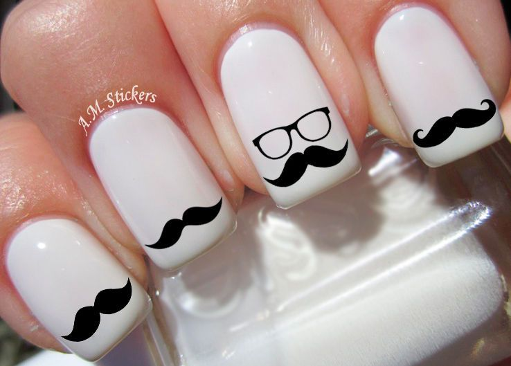 $3.99 - Black Moustache Nail Art Stickers Transfers Decals Set Of 52 ...