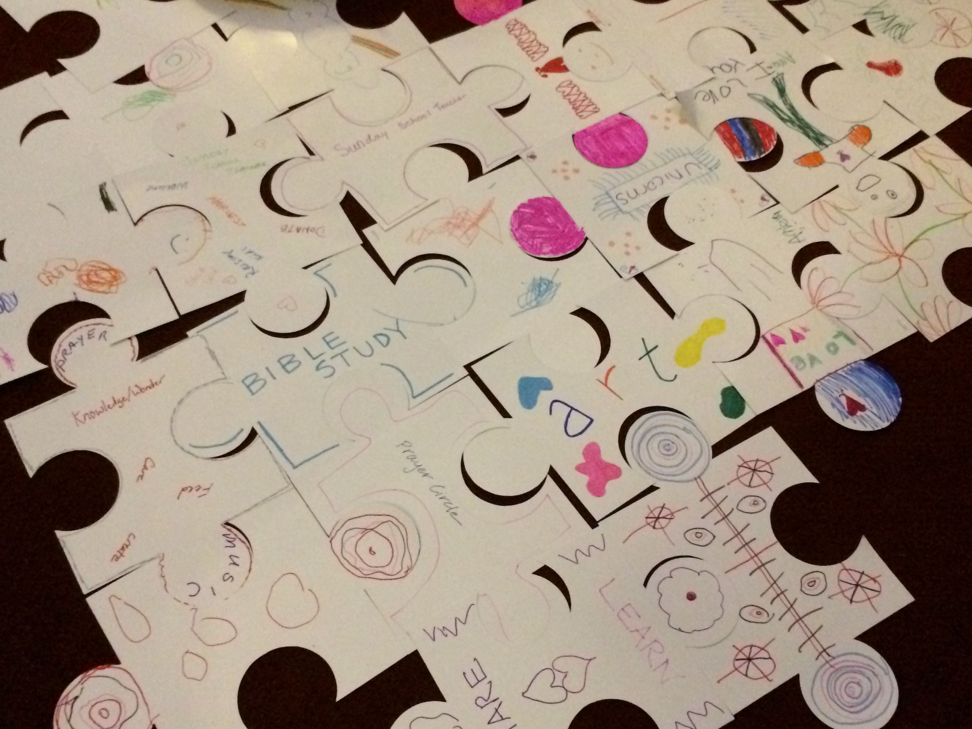 puzzle pieces of people's talents to share with church- maybe use real puzzle pieces during a lesson on spiritual gifts, connect with activities of church