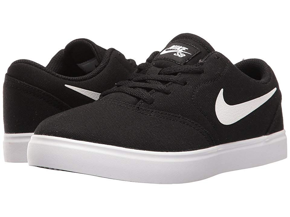 Nike SB Kids Check Canvas (Little Kid) Boys Shoes Black White ... 9ac36d940