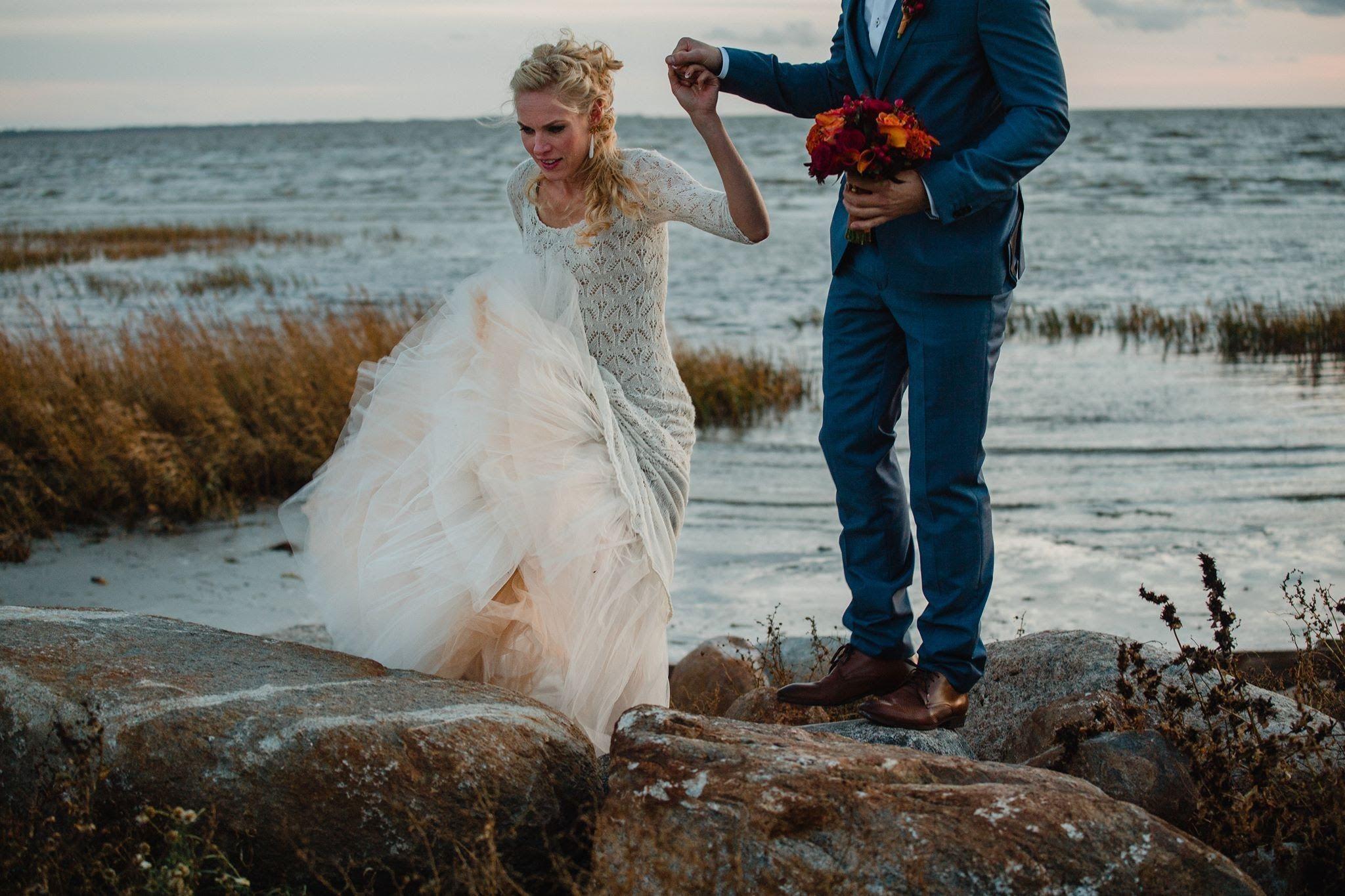 Handknitted wedding dress, knitted by Ivika Viljasaar, Estonia