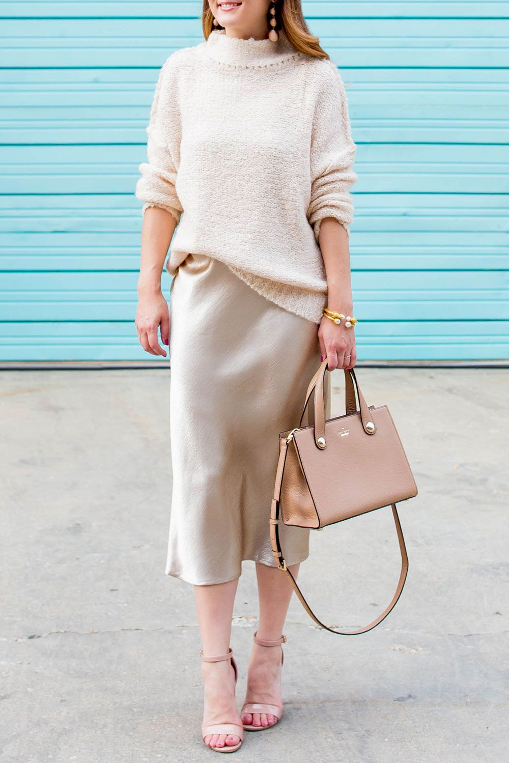 d744ad5135ea3 Oversized Sweater and Metallic Skirt - Love a cozy sweater over delicate  fabric.