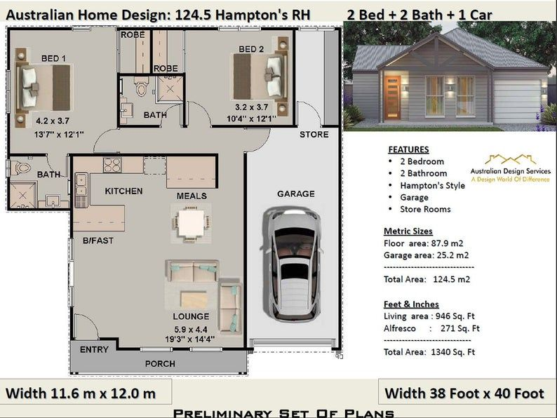 Hamptons style 2 bedroom House Plans 2 Bedroom House