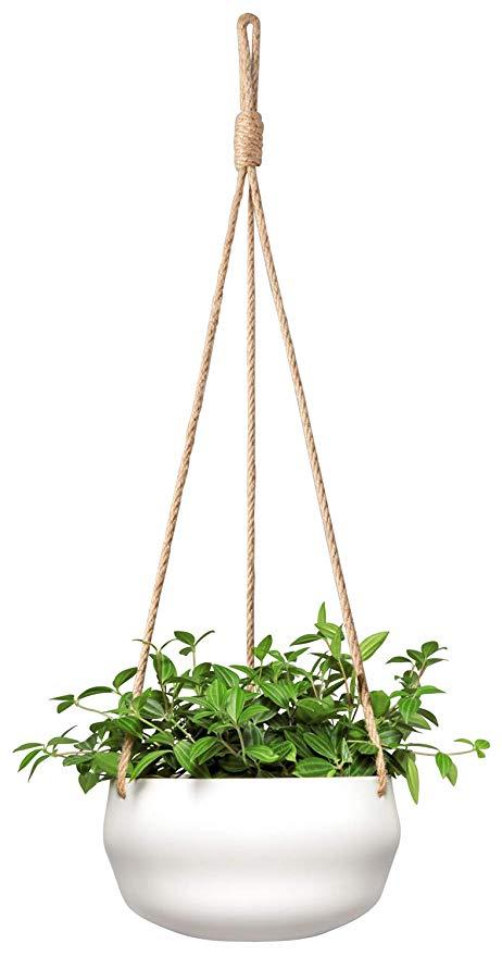 Amazon Com Mkono Modern Ceramic Hanging Planter For Indoor Plants