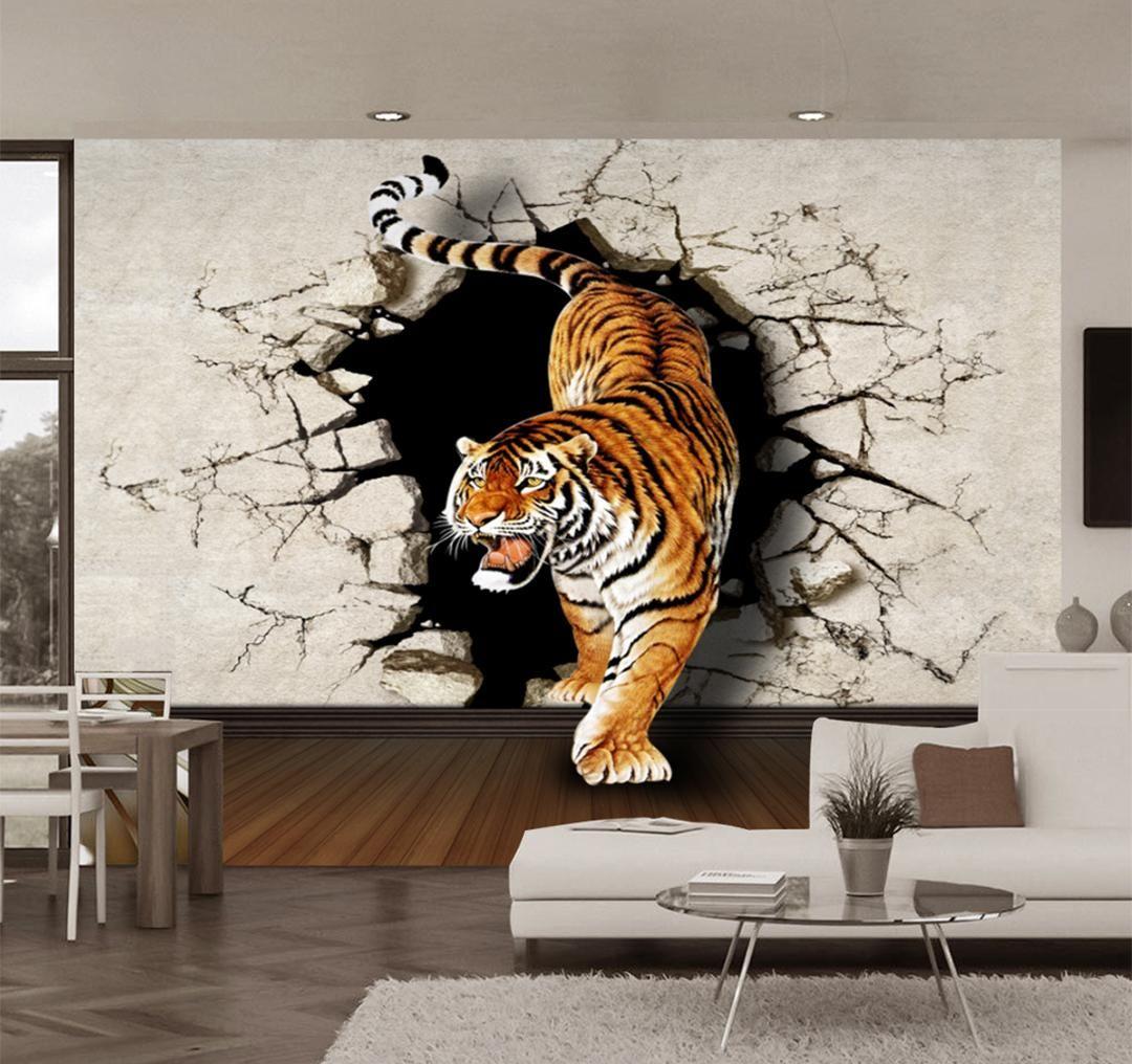 Custom Photo Wallpaper Modern 3D Stereoscopic Tiger