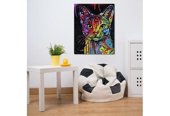 Framed Picture Painting By Numbers Abstract Animal Cat DIY Oil ...