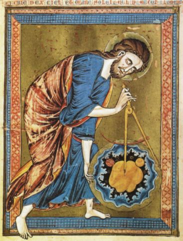 God The Father Measuring The Universe From The Bible Moralisee C 1220 Genesis 1 中世ヨーロッパ