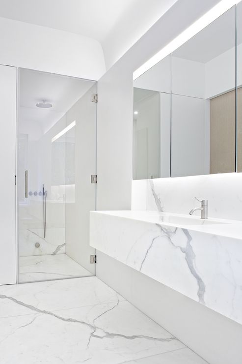 Small Bathroom Renovation Gorgeous Light Colours Frameless Glass And Floating Va White Marble Bathrooms Marble Bathroom Designs Contemporary Bathroom Designs