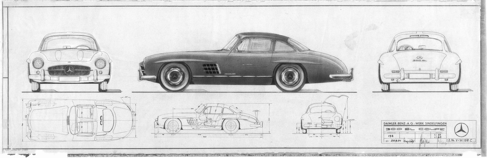 Mercedes-Benz-300SL-Blueprints-and-Design-Sketches | Voitures ...