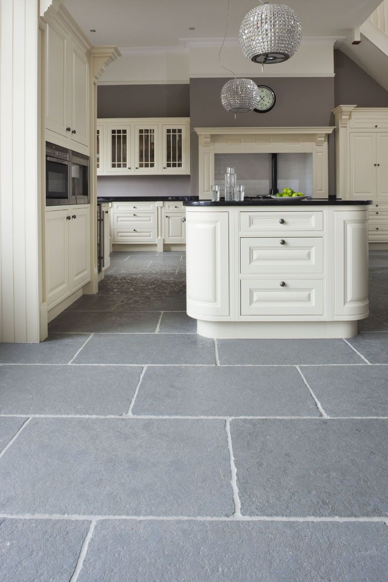 Taj Grey Brushed Limestone Tiles Kitchen flooring, Grey