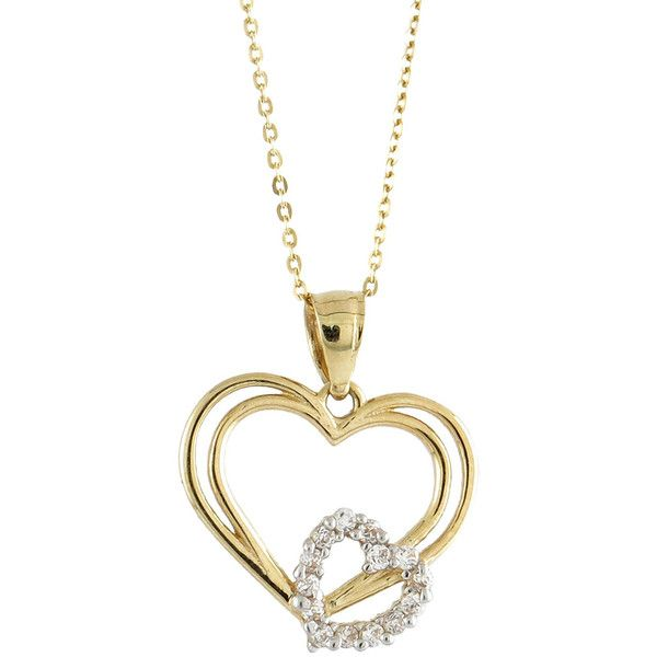 14k Yellow Gold Fashionable Cubic Zirconia Interlocking Double Heart... ($105) ❤ liked on Polyvore featuring jewelry, necklaces, yellow, yellow gold necklace, cubic zirconia necklaces, gold heart necklace, long gold necklace and gold pendant necklace
