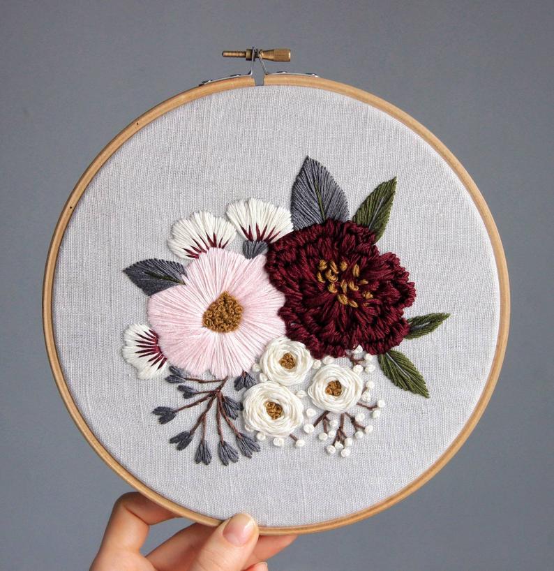 Pdf pattern+ video tutorial. Pink and burgundy peonies/ digital tutorial floral diy hand embroidery Digital Download