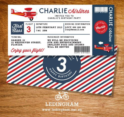 Airplane Birthday Invitation Diy Printable By Vindee On Etsy: Airline Plane Ticket Invitation, Bunting Flags, Cupcake