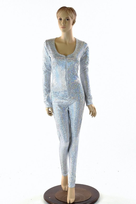 f806fc8ab56 Silver on White Shattered Glass Long Sleeve Zipper Front Catsuit - No Hood  152842