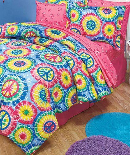 7pc Girl Tie Dye Peace Sign Queen Comforter Set Pink Blue Yellow Green Amazon Com Home Kitchen Tie Dye Bedding Hippie Bedding Twin Comforter Sets