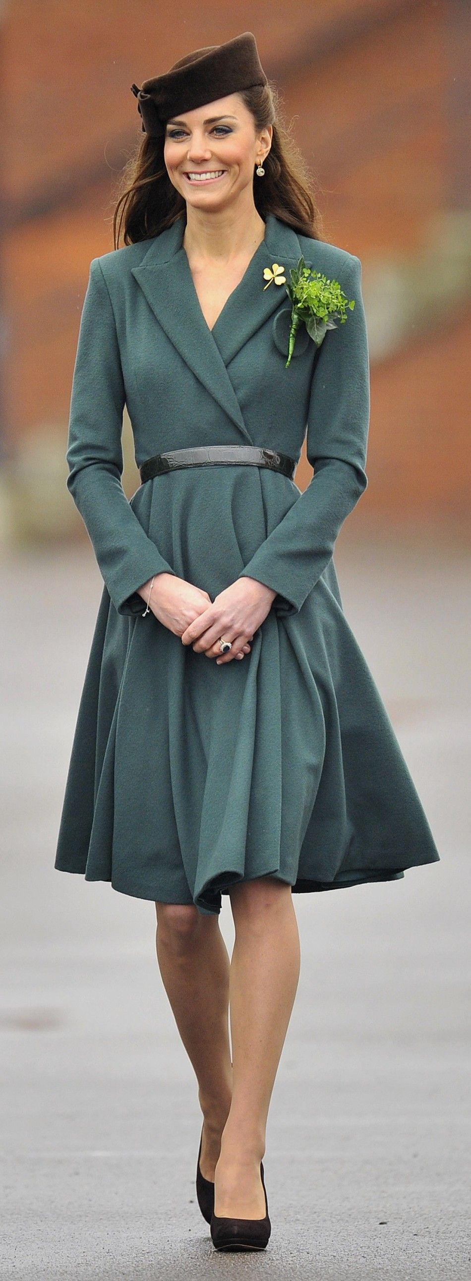 Kate Middleton wearing a green coat dress and black belt by ...