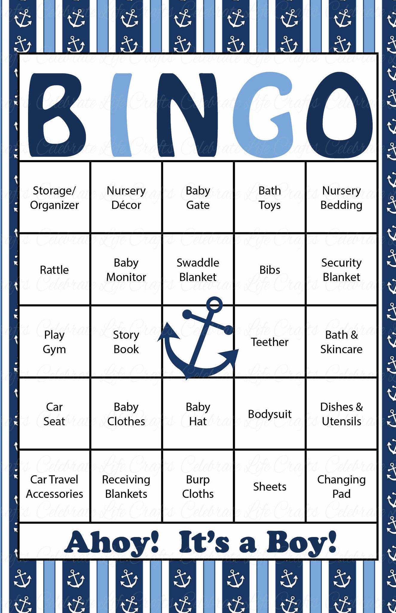 Nautical Baby Bingo Cards Printable Download Prefilled