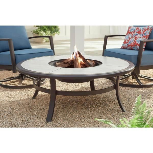Hampton Bay Whitfield 48 In Round Galvanized Steel Wood Burning Fire Pit Table In Dark Brown With Stone Look Tile Top 3022 Cm4 Fp The Home Depot In 2020 Wood Burning Fire Pit