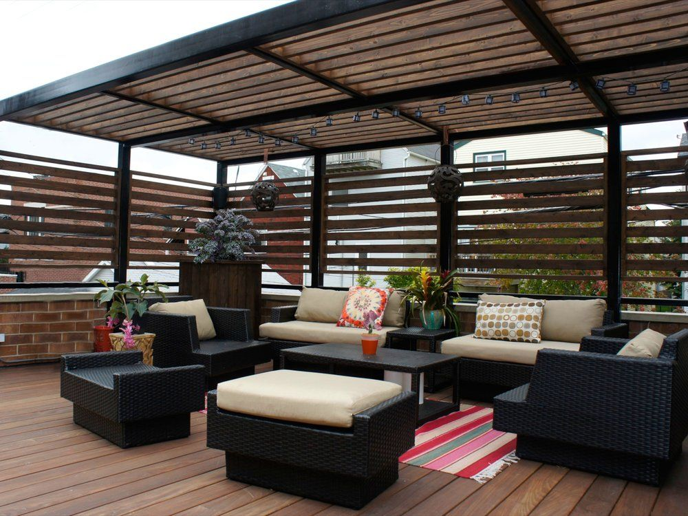 Just decks inc ipe garage roof deck with steel pergola for Rooftop deck design ideas