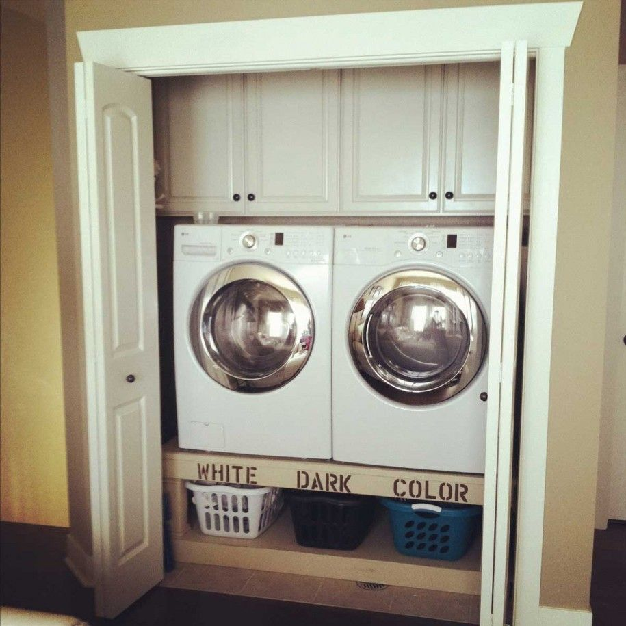 Maximizing Space In A Laundry Closet Plus Eliminate Bending To Get Into Washer Drye Bathroom Cupboard Storage Laundry Room Storage Shelves Laundry Room Storage