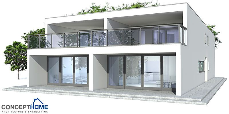Contemporary duplex house to narrow lot three bedrooms for Semi duplex house plans