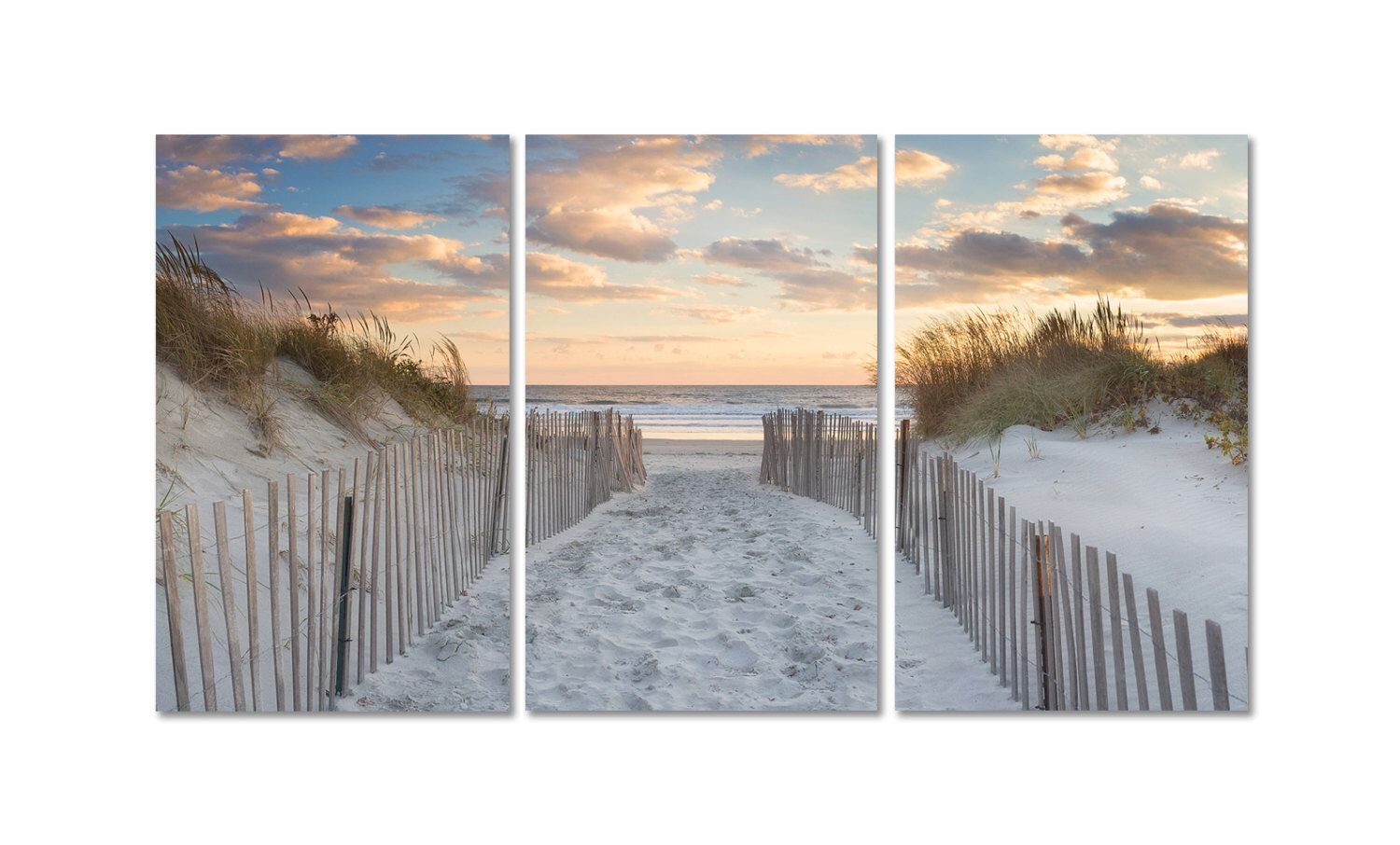 Large beach art 3 three panel triptych canvas wall art for Large panel wall art