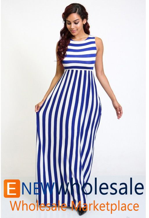 Sleeveless striped maxi dress with pockets on the sides.  Neatly finished ends.   Contentl 95% Rayon 5%Spandex Package of 3 pieces: 1S, 1M, 1L per color only. Made in USA   - See more at: http://enewwholesale.com/d-25w401-3clr.html#sthash.jiqXYjEk.dpuf