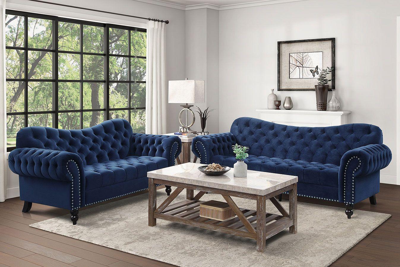 Rosalie Living Room Set Navy Blue Living Room Sets Living Room Pieces Comfortable Furniture