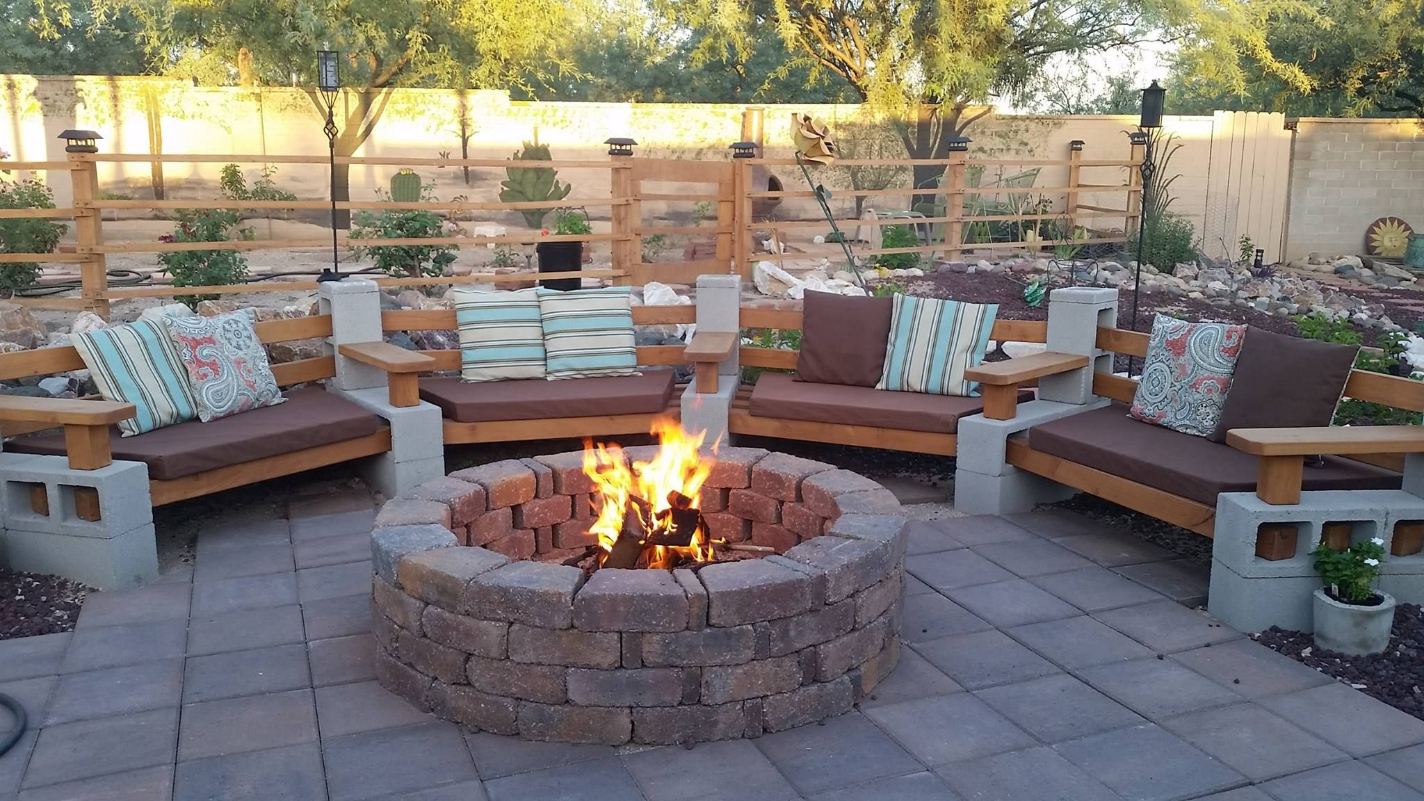 how to build a square fire pit with concrete blocks