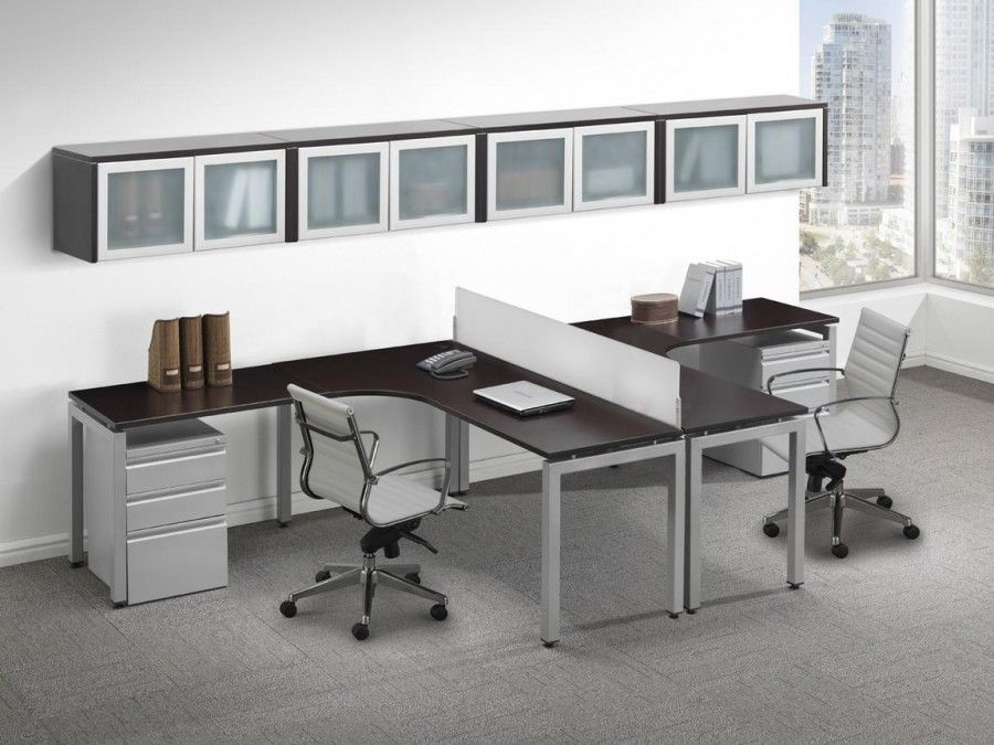 Contemporary 2 Person T Shape Desk With Glass Accent Storage Cabinets Home Office Layouts Cheap Office Furniture Home Office Design
