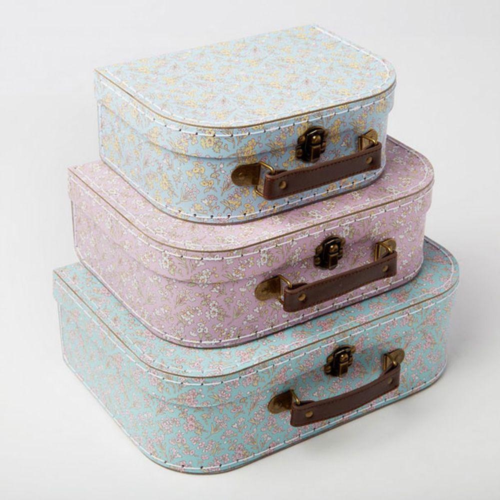 Decorative Luggage Box Mini Floral Decorative Suitcases X 3 Wedding  Home Decoration