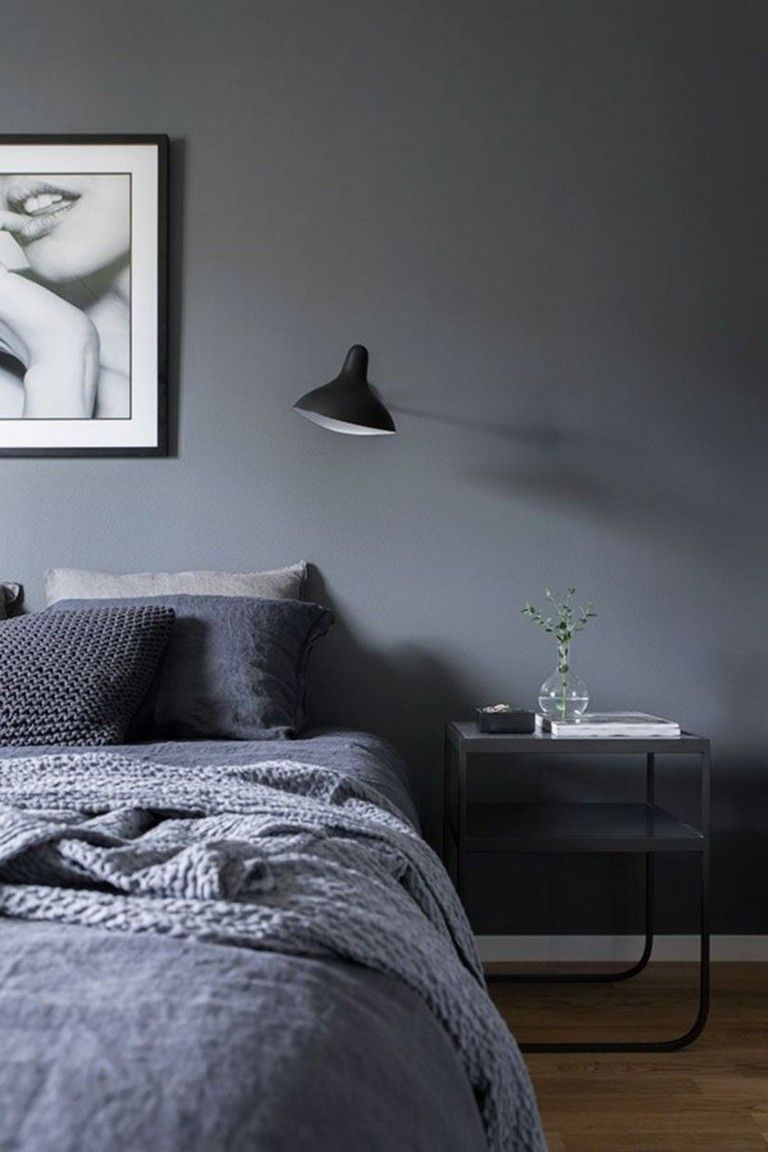 40 The Best Dark Grey Wall Paint Color Ideas For Your Bedroom Elegant Bedroom Scandinavian Design Bedroom Home Decor Bedroom