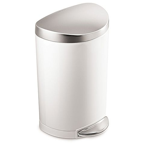 Simplehuman Stainless Steel Semi Round 10 Liter Step On Trash Can In White Bathroom Trash Can Simplehuman Trash Can