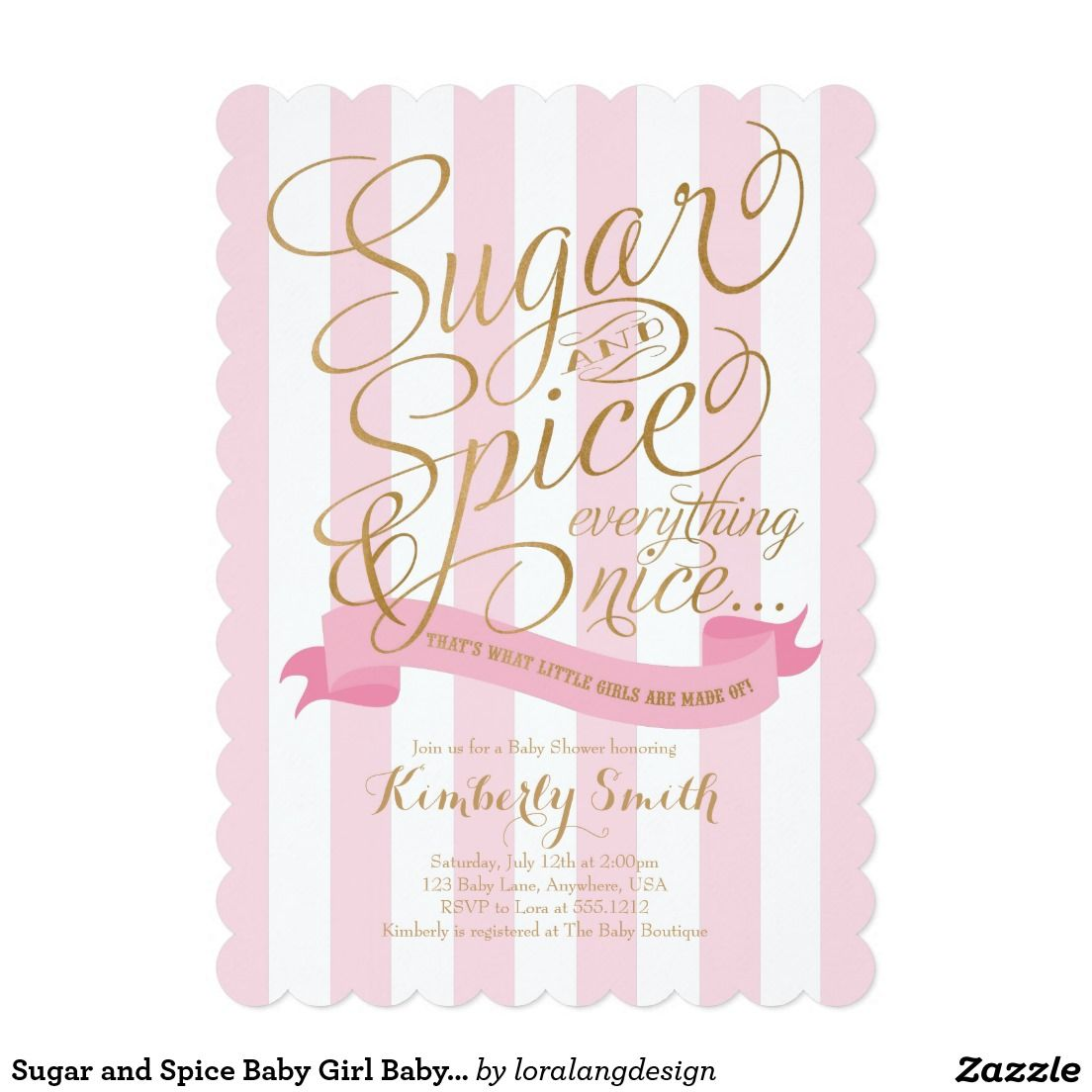 Sugar and Spice Baby Girl Baby Shower Invitation 5\