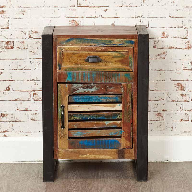 Urban Chic Reclaimed Wood 1 Door Drawer Lamp Table