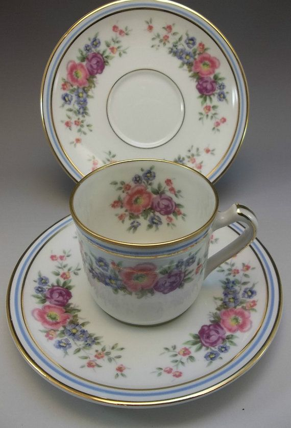 Charles Ahrenfeldt Limoges France Tea Cup Saucer Set Pink Roses Blue Bone  China X