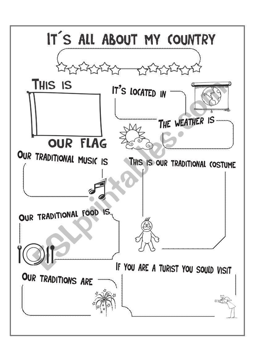 It S All About My Country Worksheet Ingles Para Preescolar Ensenanza De Ingles Autoevaluacion [ 1169 x 826 Pixel ]