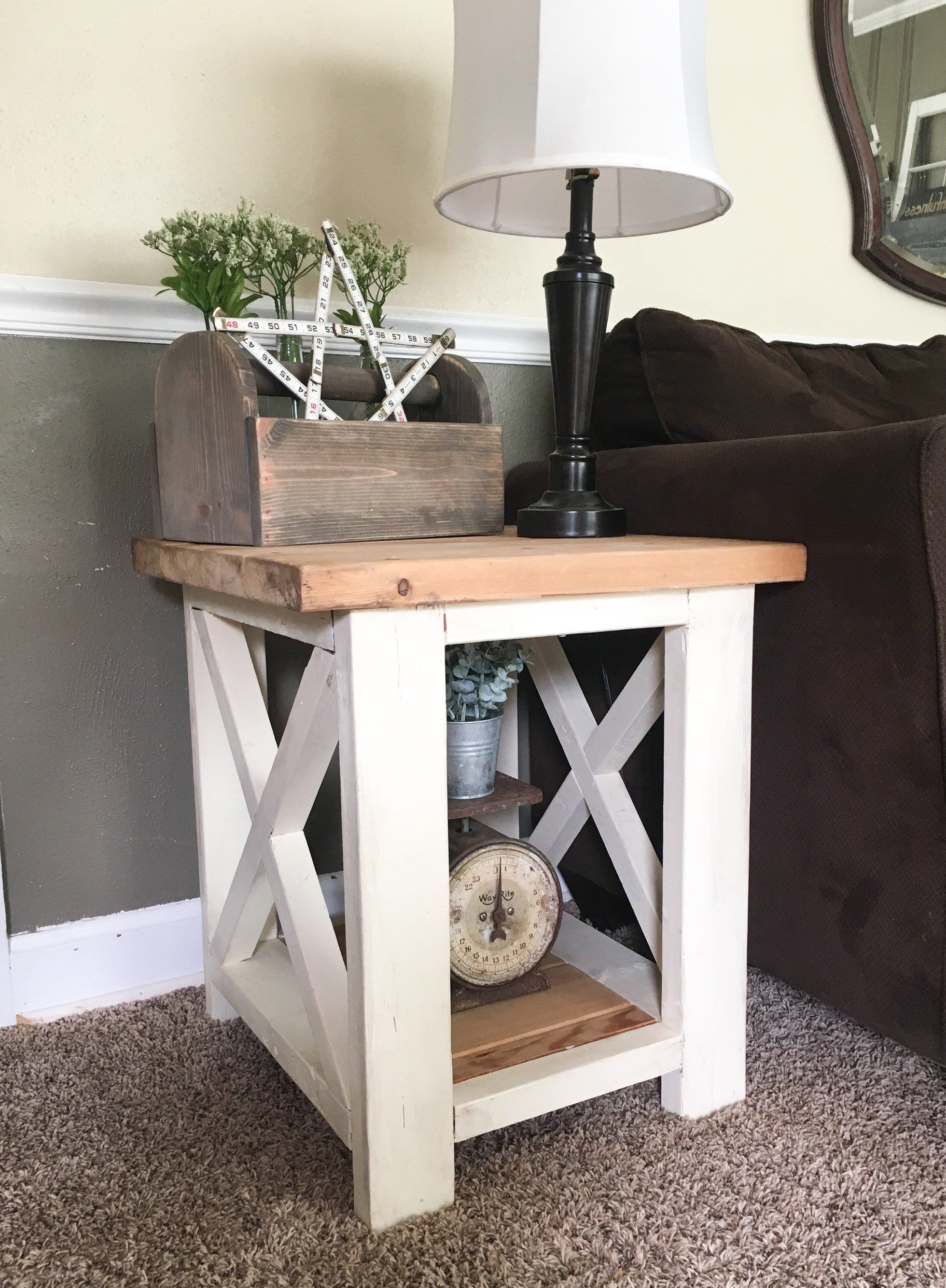 Custom farmhouse end table rustic side table living