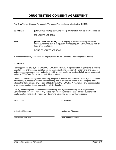 Drug Testing Consent Agreement  Template  Sample Form  Biztree