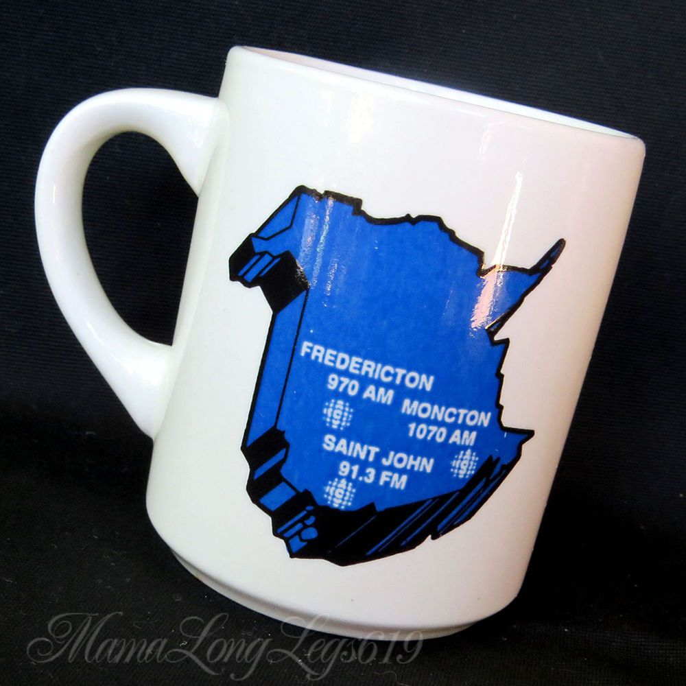 Vtg Canada CBC Radio Broadcast Coffee Mug Cup Moncton Map