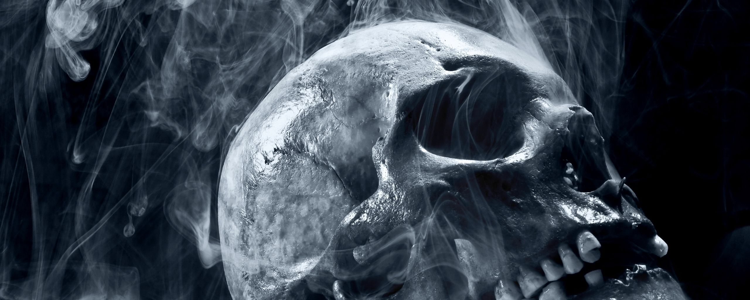 Blue scary death wallpaper background dual monitor - Scary skull backgrounds ...