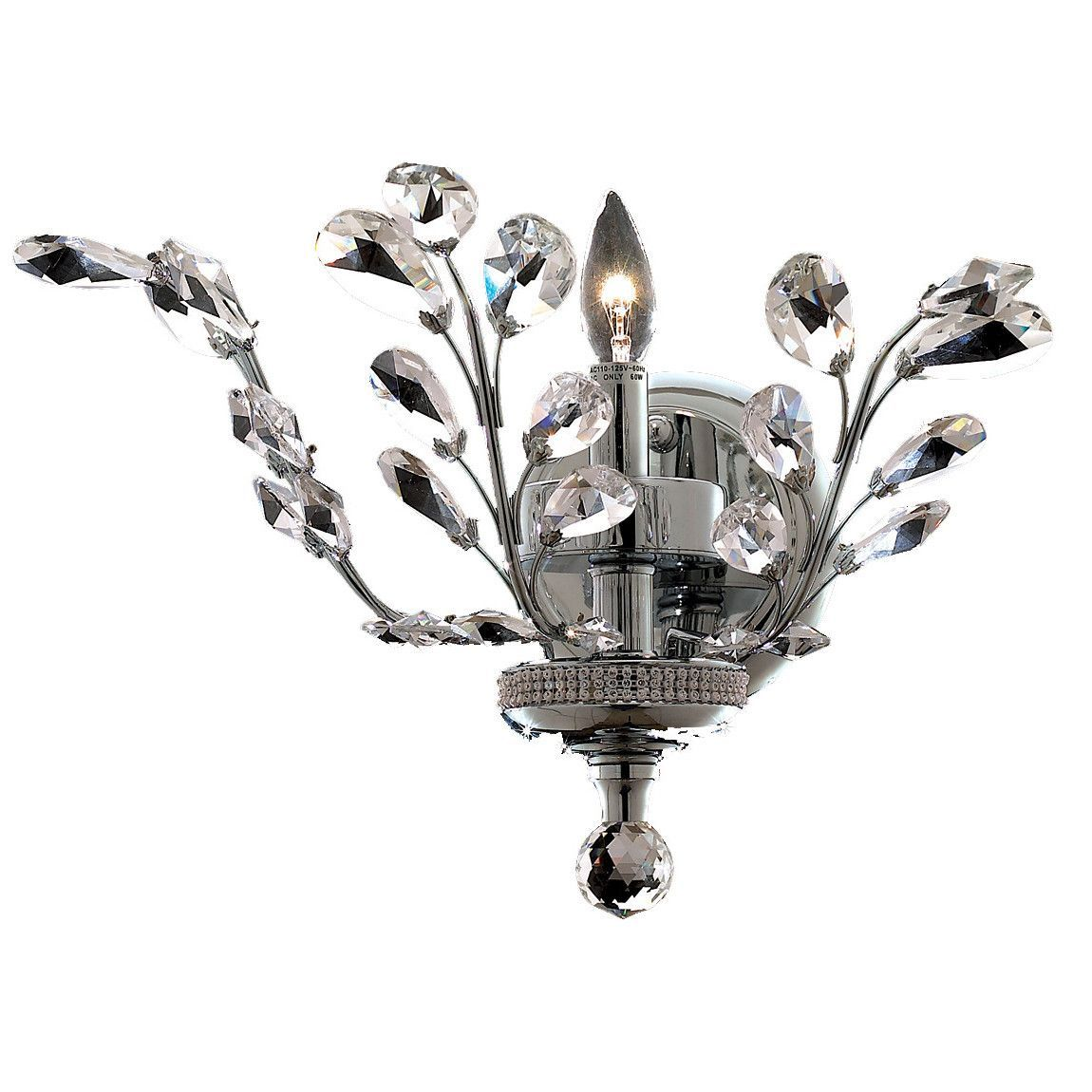 "Elegant Lighting 2011W16C/EC Orchid Collection Wall Sconce W16"" x H14"" x E6"" Chrome Finish (Elegant Cut Crystals)"