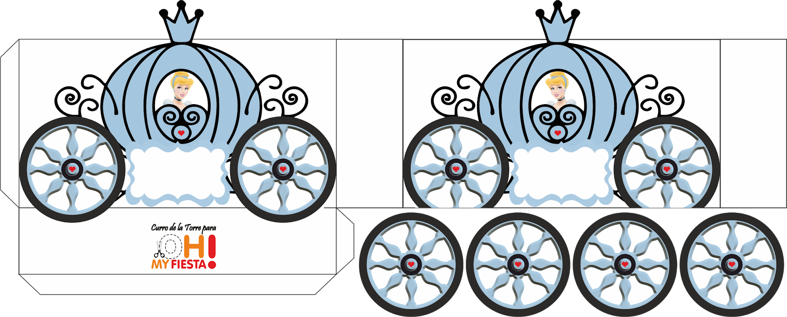 cinderella carriage shaped free printable box