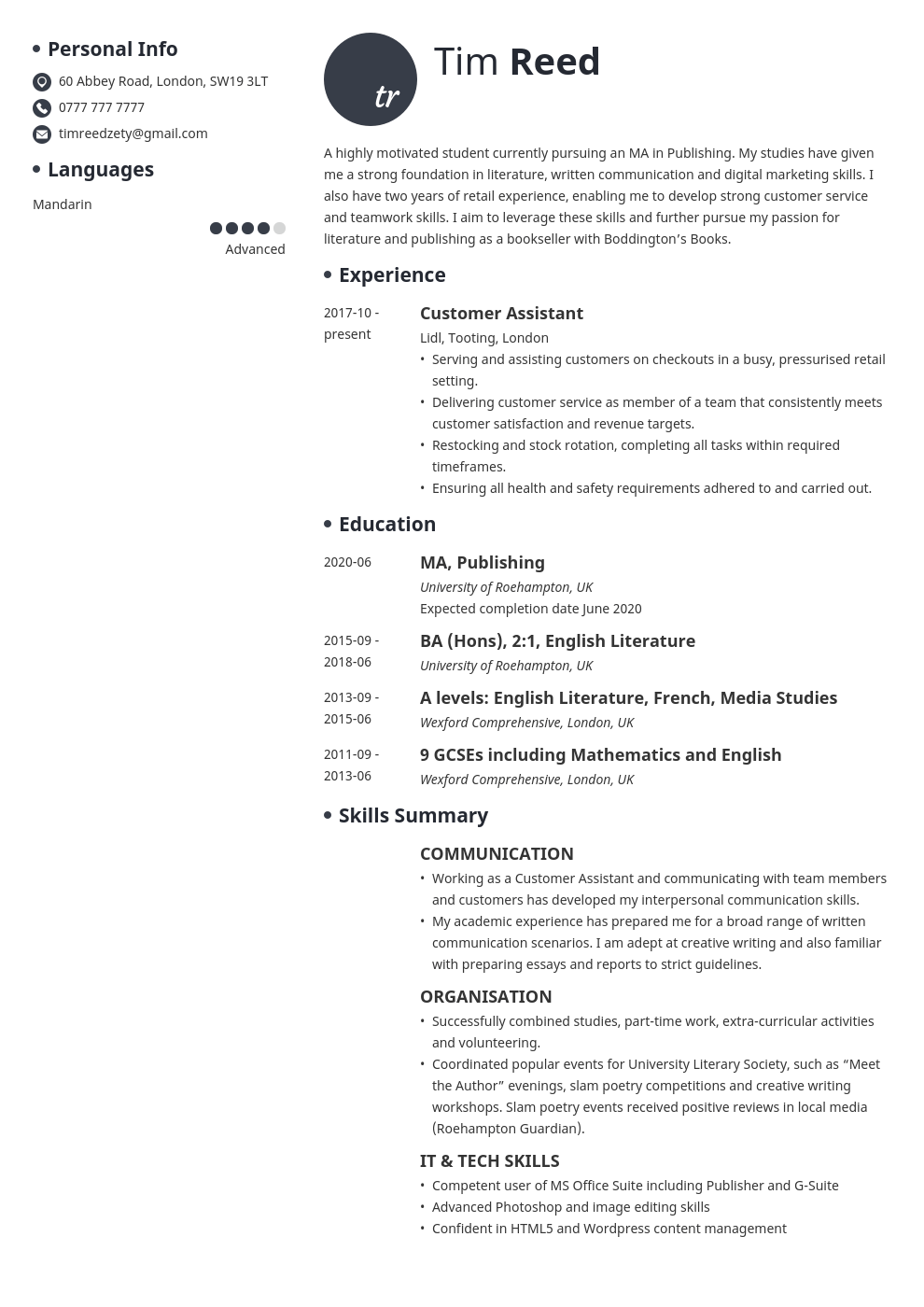 uk student cv example template initials in 2020 Student