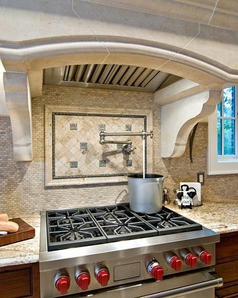 Kitchen Backsplash Range: Potfiller Faucet And Wolf Range