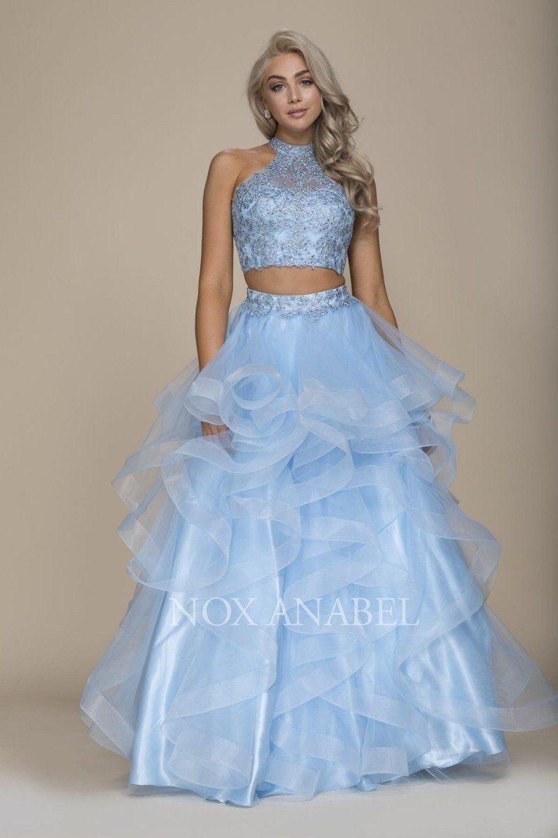 Breathtaking blue piece prom dress prom full length skirts