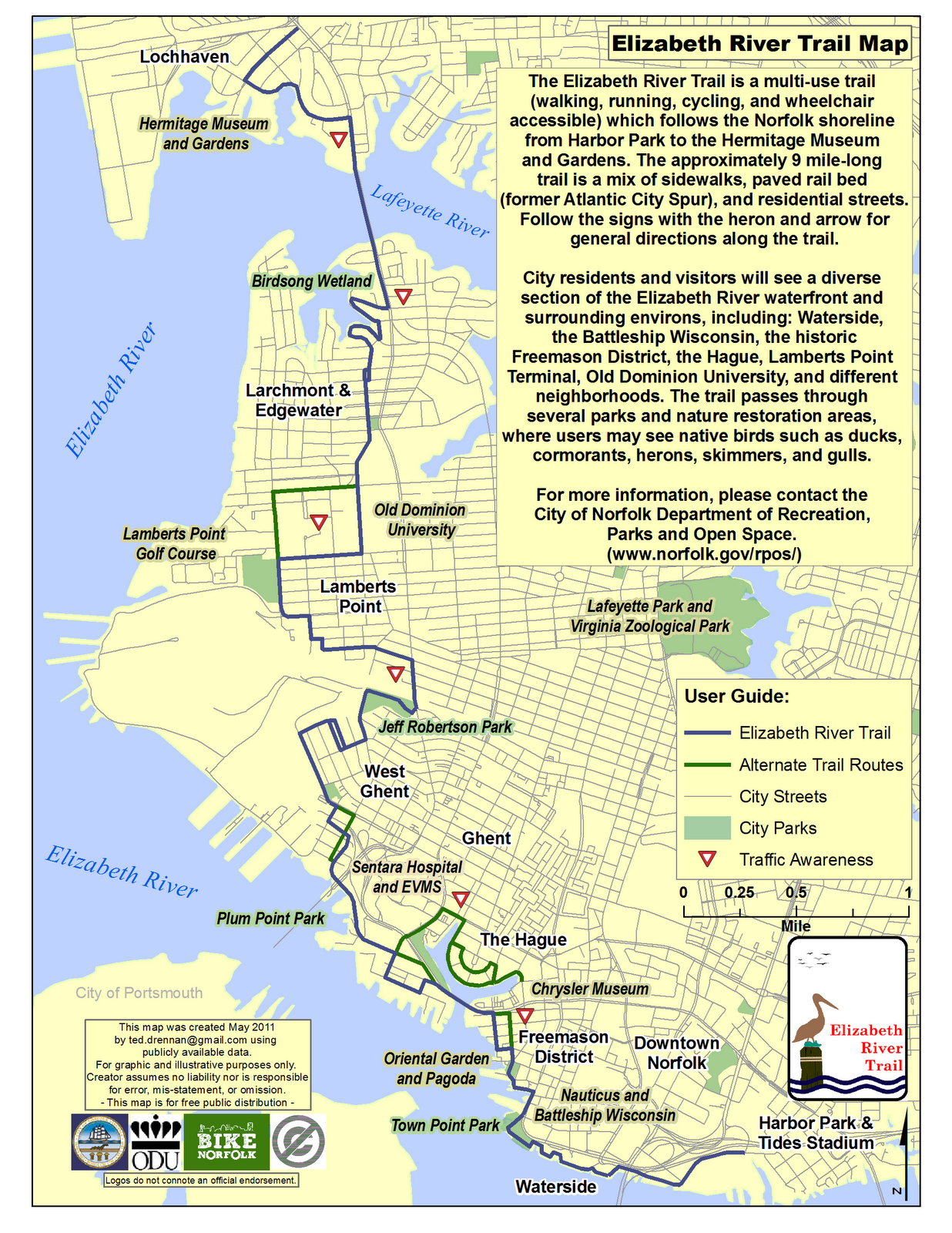 Elizabeth River trail map, Norfolk, VA | My Inner Geek | Pinterest ...