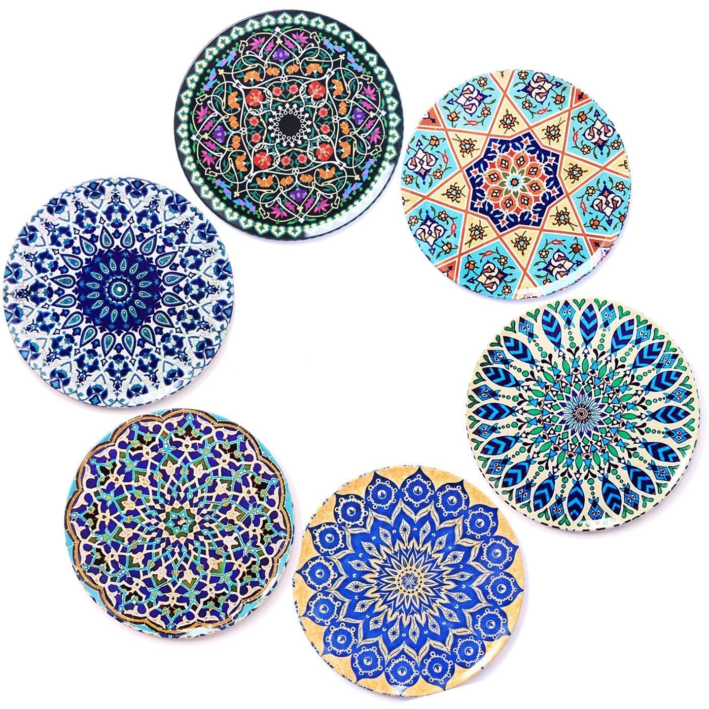 Bohoria Premium Design Coasters Set Of 6 Decorative Coasters For Glass Cups Vases Candles On Their Dining Table Made Of Wo Premium Design Candle S Coaster Set
